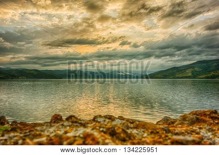Surreal evening clouds over Danube river in Serbia