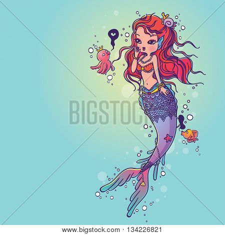 Vector Illustration of a Lovely Mermaid and Friends Under the Sea Hand Drawn, Doodle Cartoon Character