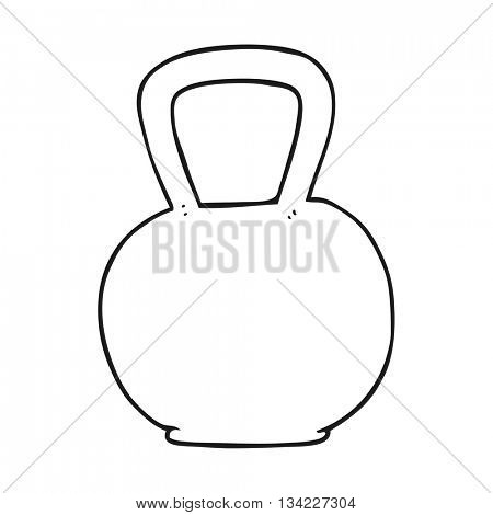 freehand drawn black and white cartoon kettle bell
