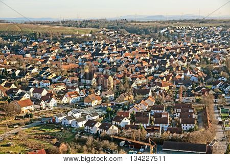 view over town Hessigheim - grey sky