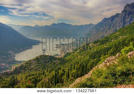Montenegro. Bay of Kotor Gulf of Kotor Boka Kotorska and walled old city - general view from St. John's Fortress.