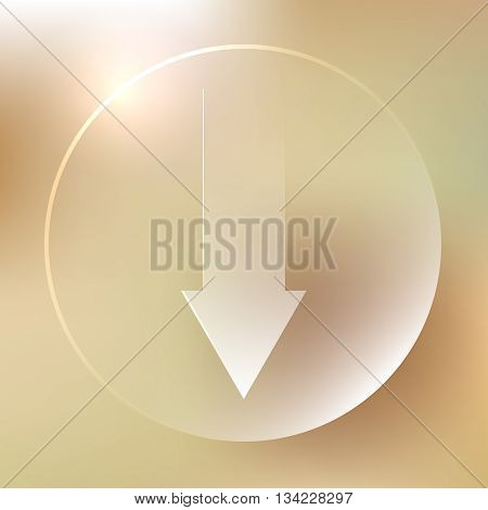 Down Arrow Glassy Icon