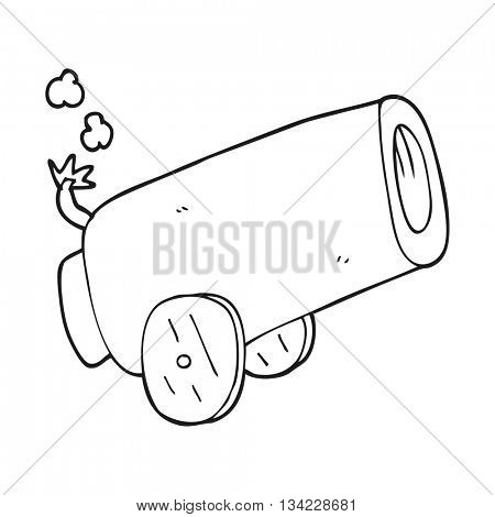freehand drawn black and white cartoon cannon