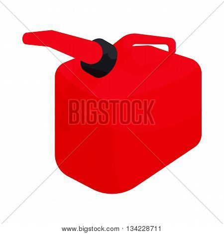 Red gas can icon in cartoon style on a white background