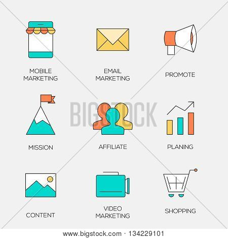 Business marketing color line icons. Affiliate and promotion marketing