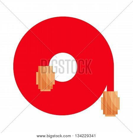 Rolled up red fire fighting hose icon in cartoon style on a white background
