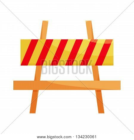 Traffic barrier icon in cartoon style on a white background