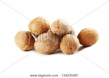 Walnut isolated on a white background, close up