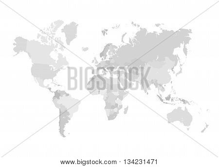 Grey World Map Vector Illustration. Empty template without country names. Isolated on white background