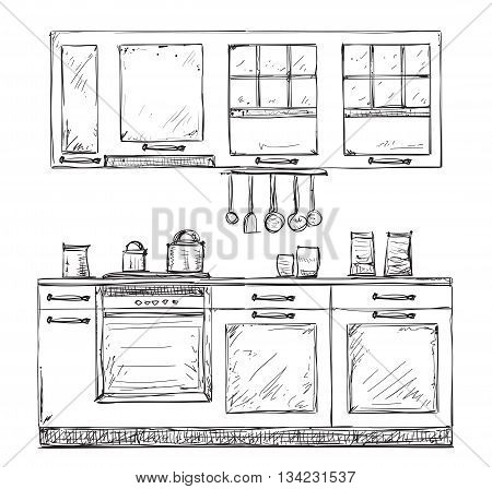 Kitchen cupboard, kitchen shelves, hand drawn sketch