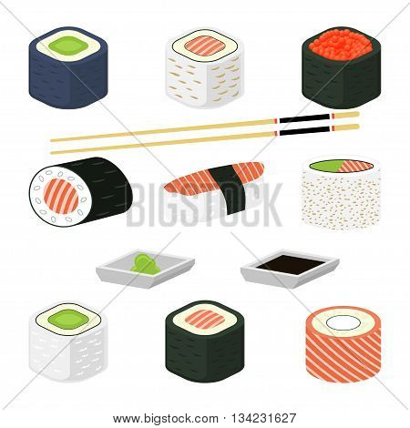 Sushi rolls vector illustration. Different sushi rolls with seafood, avocado, salmon and red caviar. Set of traditional japanese sushi rolls with chopsticks for sushi, wasabi and sauce. Isolated on white.