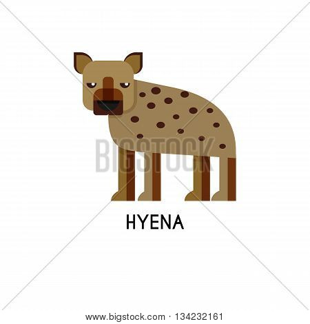 Hyena made in unique geometrical flat style. Flat design template animal logo. Isolated icons for your design.