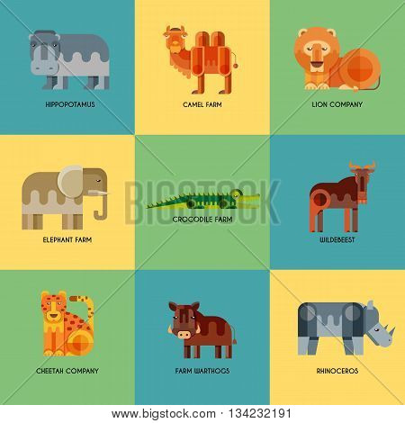 Vector set of different geometric flat african animals icons. Lion cheetah hyena warthog elephant camel crocodile hippo rhino wildebeest. Animals to infographic design.