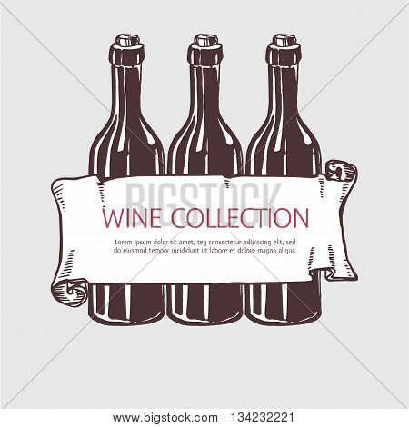 Wine bottle collection with banner. Vector handdrawn sketch illustration.