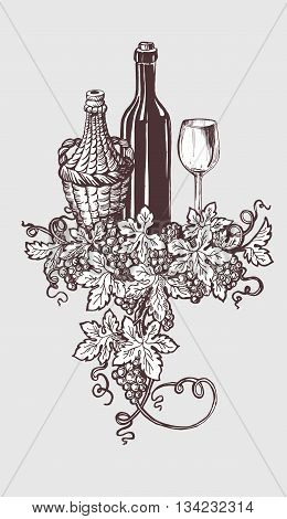 Wine and wine tasting illustration with wine bottle and grapes wreath decoration. Handdrawn sketch style. Vector illustration.