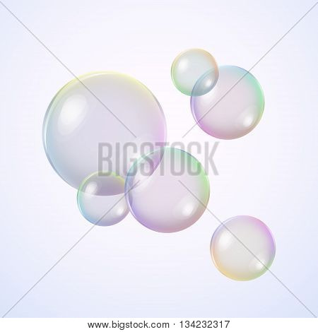 Realistic soap bubbles with rainbow reflection. Vector Illustration.