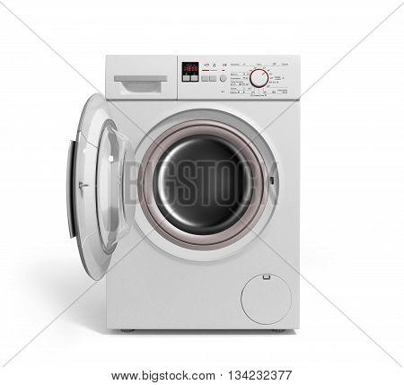 Washing Machine On White Background 3D Illustration