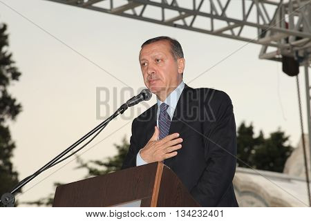ISTANBUL, TURKEY-MAY 29: Prime Minister Recep Tayyip Erdogan speaks at the reopening of the Faith Mosque after the restoration of five years on May 30, 2012 in Istanbul,Turkey.