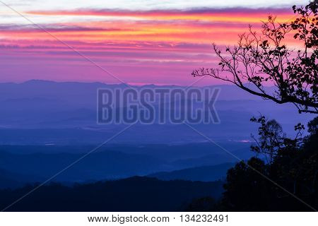 Morning sunrise vantage point on the mountain Chiang Mai Thailand.