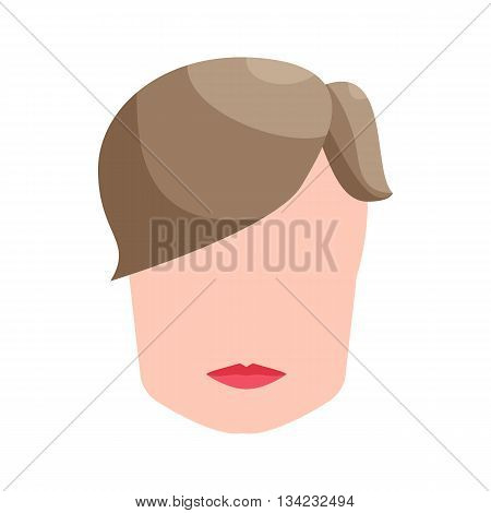 Fashion mens hairstyle icon in cartoon style on a white background