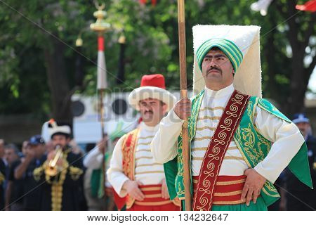 ISTANBUL, TURKEY-MAY 29: Traditional Ottoman army band or janissary band performed a show during the celebratory events in Sultanahmet district on May 29, 2012 in Istanbul,Turkey.