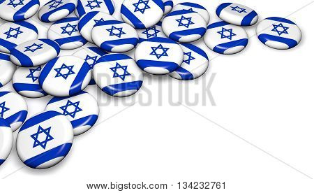 Israel flag on pin badges 3d illustration image for national Israeli day events holiday memorial and celebration with copyspace.