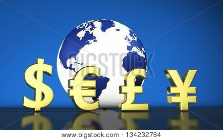 Global world economy concept with money currency symbols and a globe with the world map 3D illustration.