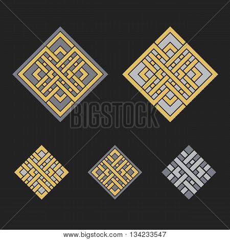 Asian ornaments. Vector arabic geometric symbols set