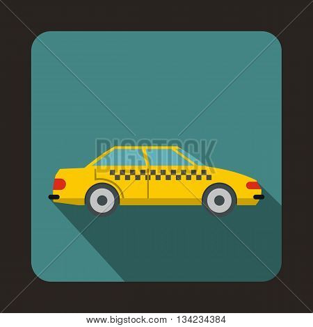 Taxi icon in flat style with long shadow. Transportation symbol
