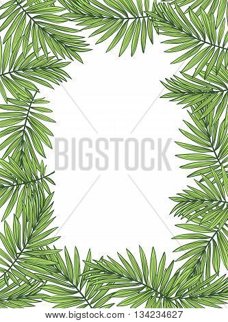 Aloha Hawaii illustration, palm leaves on the white background.