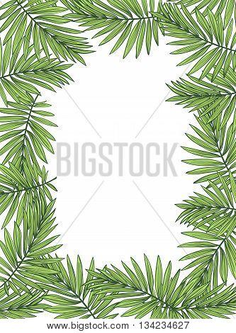 Aloha Hawaii illustration, palm leaves on the white background.