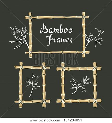 Bamboo frames with leaves on the chalkboard. Vector illustration.