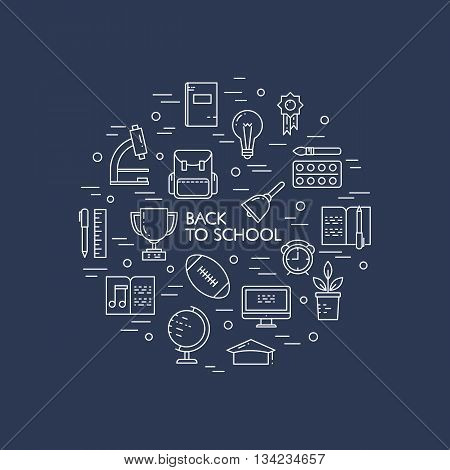 Illustration of symbols school objects and college items. Education and learning concept made in line style vector. Illustration for poster and header banner icons and other flat design web elements