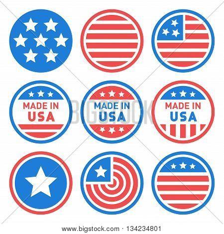 Made in USA Labels Set. Vector illustration