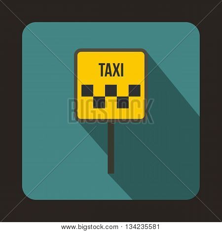 Sign taxi icon in flat style with long shadow. Car symbol