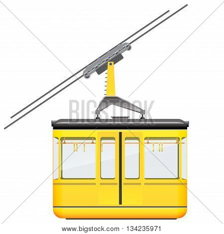 Yellow cableway in high mountains at winter or sammer season.