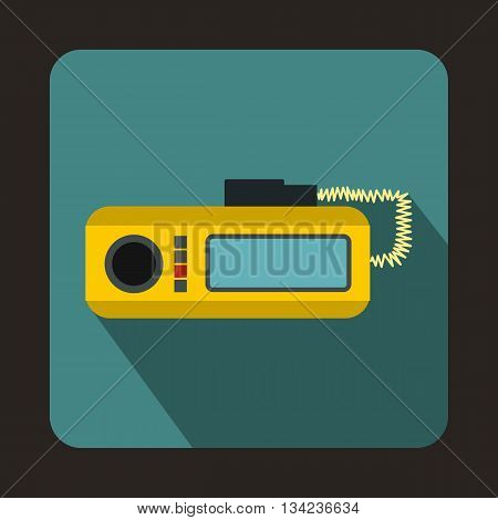 Radio taxi icon in flat style with long shadow. Device symbol