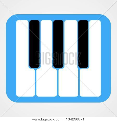 Piano Keys Icon Isolated On Blue Rounded Rectangle | Flat Design | Vector EPS 10