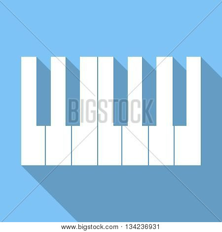 Piano Keys Icon Isolated On Blue Background | Long Shadow | Flat Design | Vector EPS 10