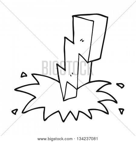 freehand drawn black and white cartoon lightning bolt
