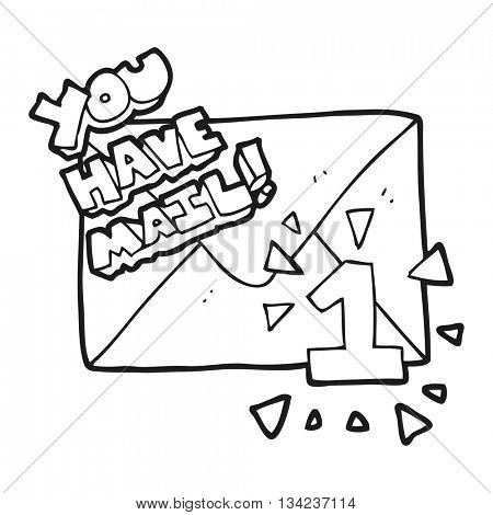 freehand drawn black and white cartoon you have mail symbol