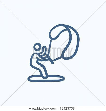 Kite surfing vector sketch icon isolated on background. Hand drawn Kite surfing icon. Kite surfing sketch icon for infographic, website or app.