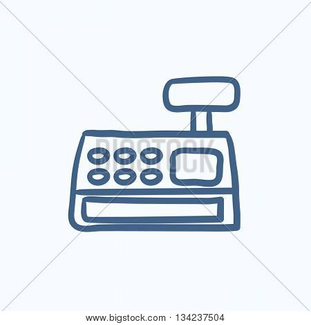 Cash register machine vector sketch icon isolated on background. Hand drawn Cash register machine icon. Cash register machine sketch icon for infographic, website or app.