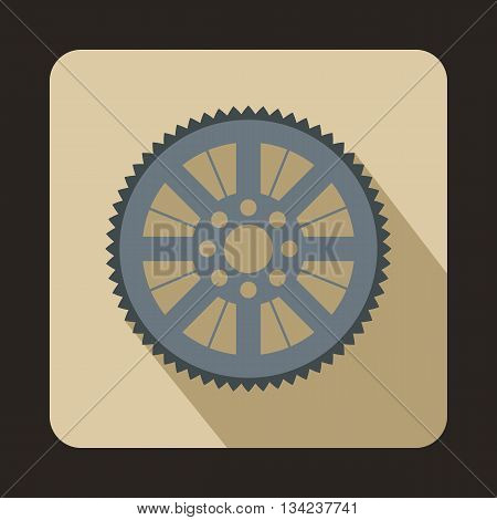Sprocket from bike icon in flat style with long shadow. Device symbol