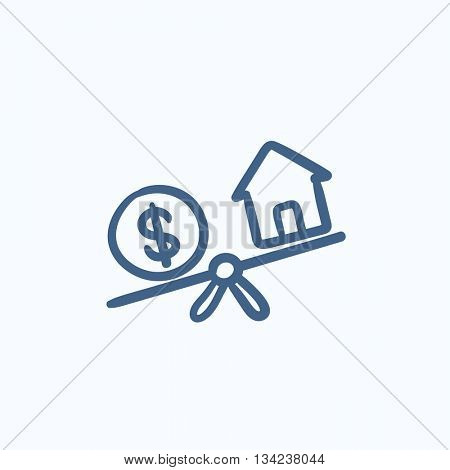 House and dollar symbol on scales vector sketch icon isolated on background. Hand drawn House and dollar symbol on scales icon. House and dollar on scales sketch icon for infographic, website or app.