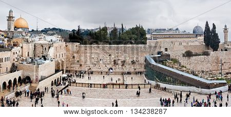 Panoramic view of Western Wall, Dome of Rock and al-Aqsa mosque in Old City in Jerusalem, Israel