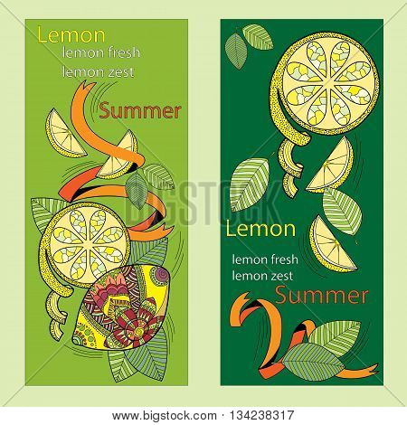 Lemon and lemon slices pattern on a green background, in the style of zentangle