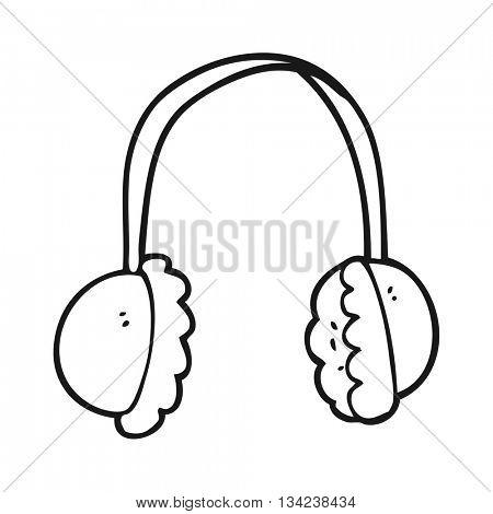 freehand drawn black and white cartoon ear muffs