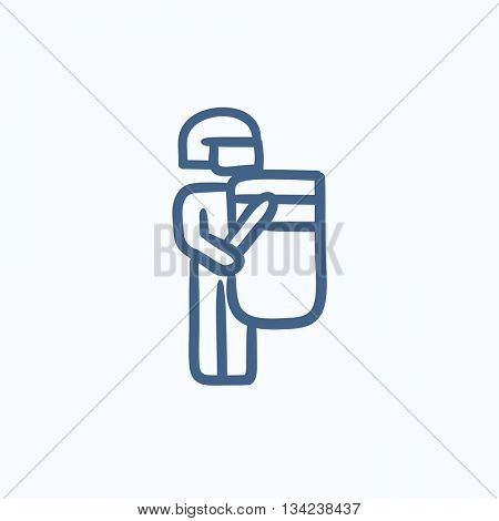 Policeman vector sketch icon isolated on background. Hand drawn Policeman icon. Policeman sketch icon for infographic, website or app.