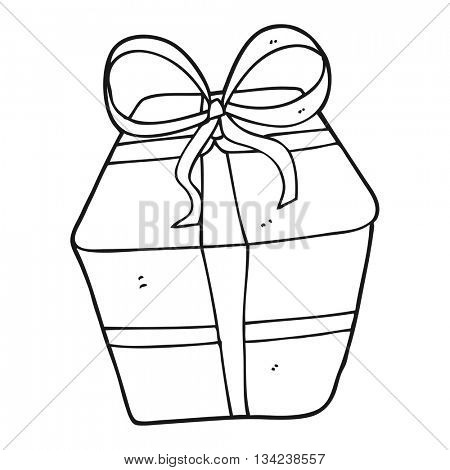 freehand drawn black and white cartoon wrapped present